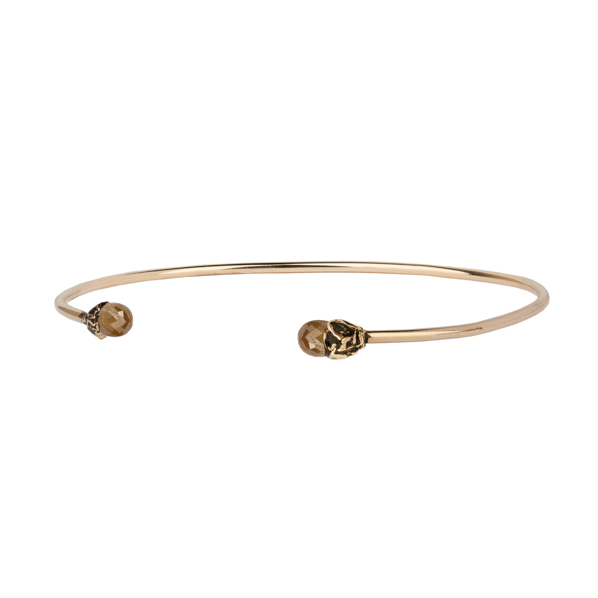 Earthen Rustic Diamond 14K Gold Capped Open Bangle