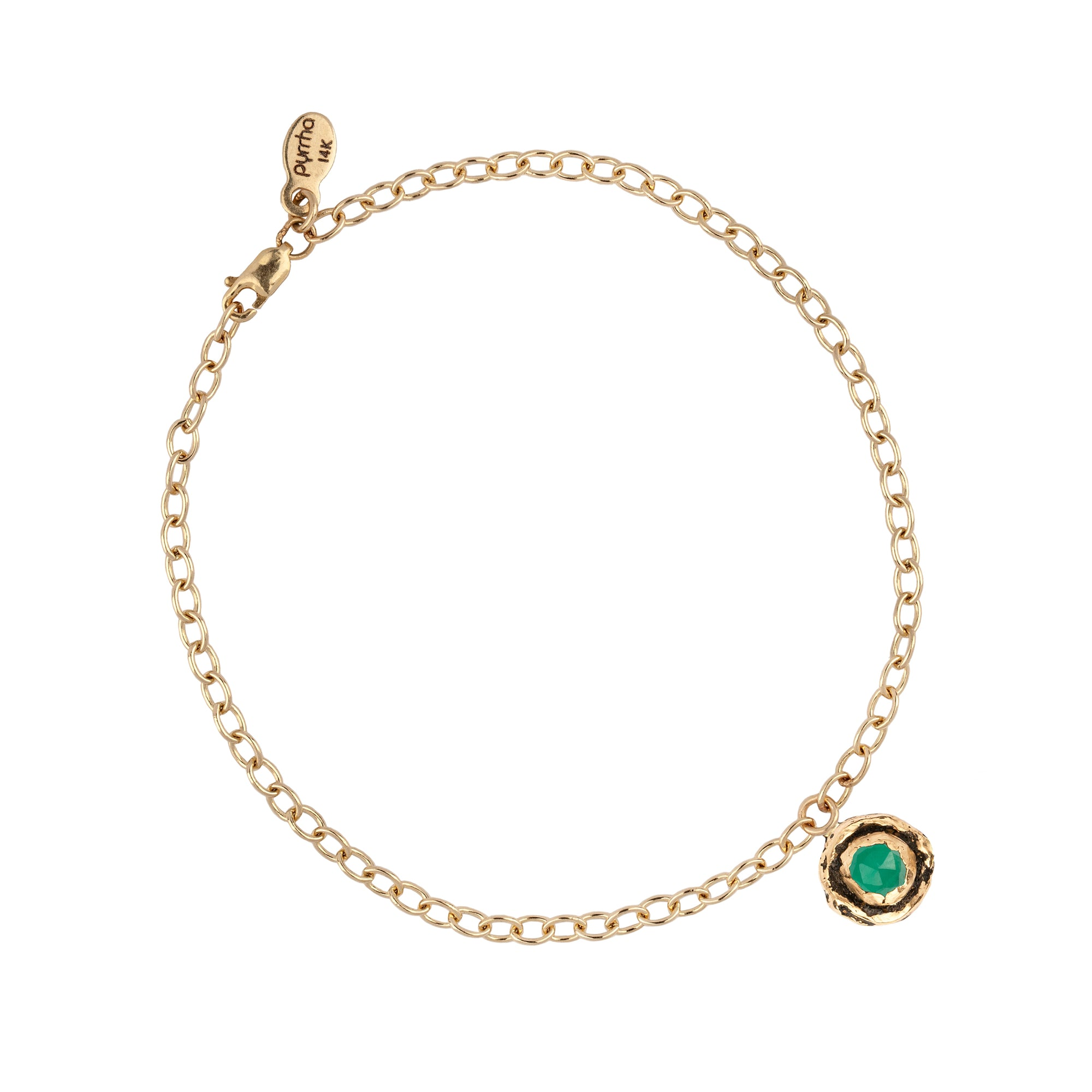 Emerald 14K Gold Faceted Stone Chain Bracelet