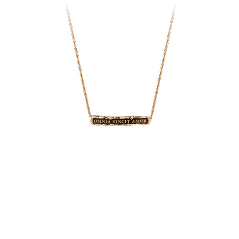 Pyrrha Omnia Vincit Amor 14K Gold Latin Bar Necklace