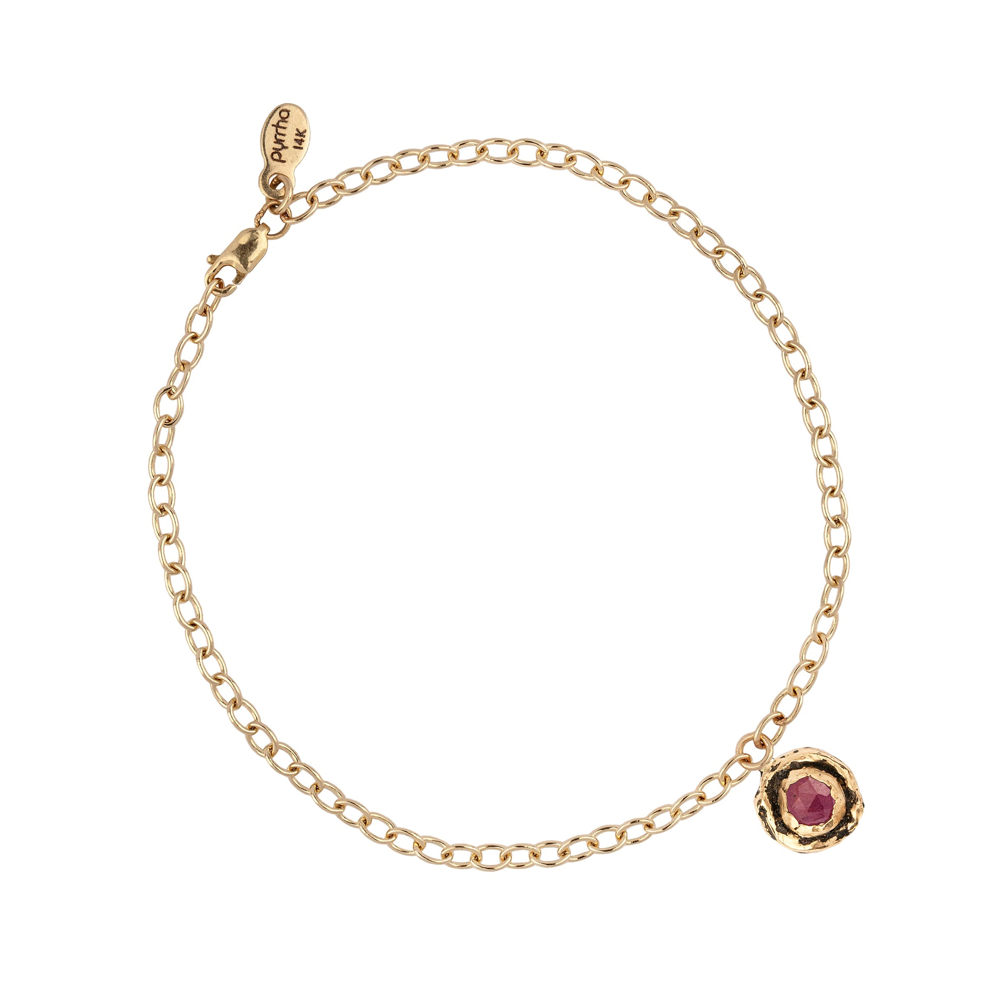 Ruby 14K Gold Faceted Stone Chain Bracelet