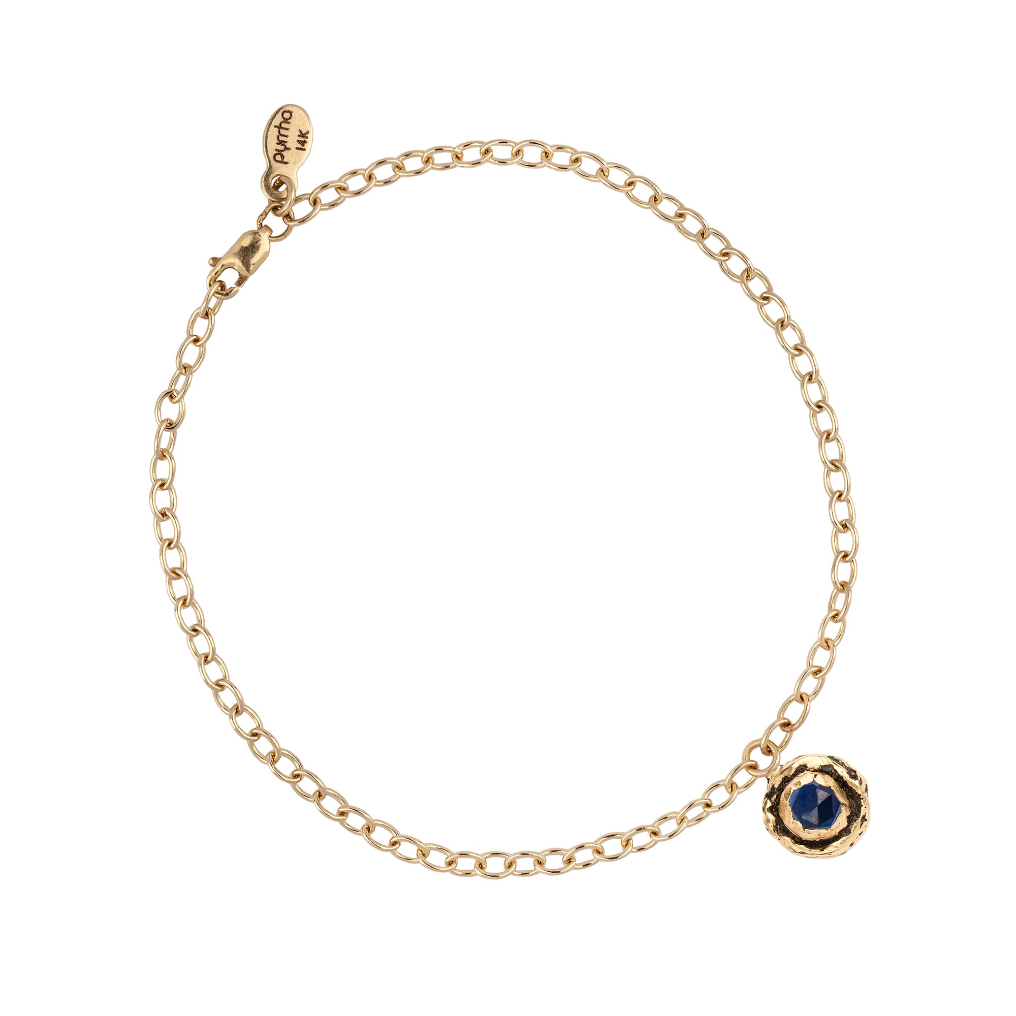 Sapphire 14K Gold Faceted Stone Chain Bracelet