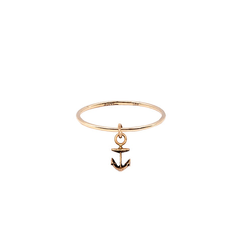 Anchor Hanging 14K Gold Symbol Charm Ring