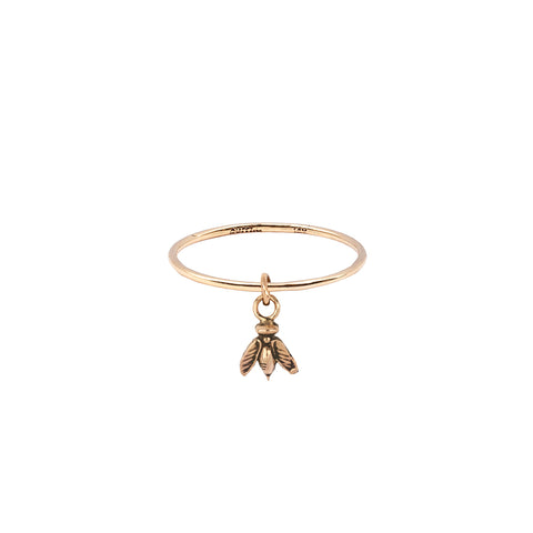 Bee Hanging 14K Gold Symbol Charm Ring