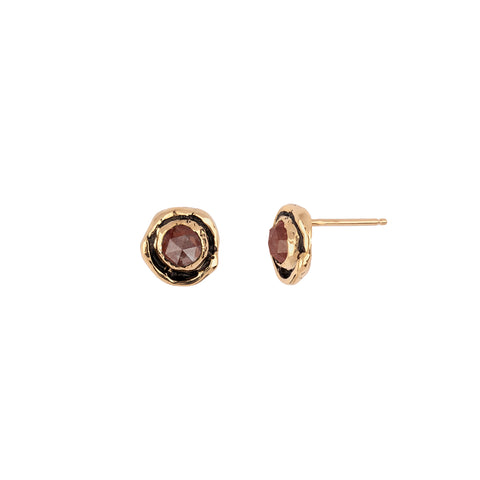 Small Cognac Rustic Diamond Faceted Stone 14K Gold Stud