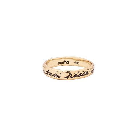 Courage To Challenge Life 14K Gold Poesy Ring