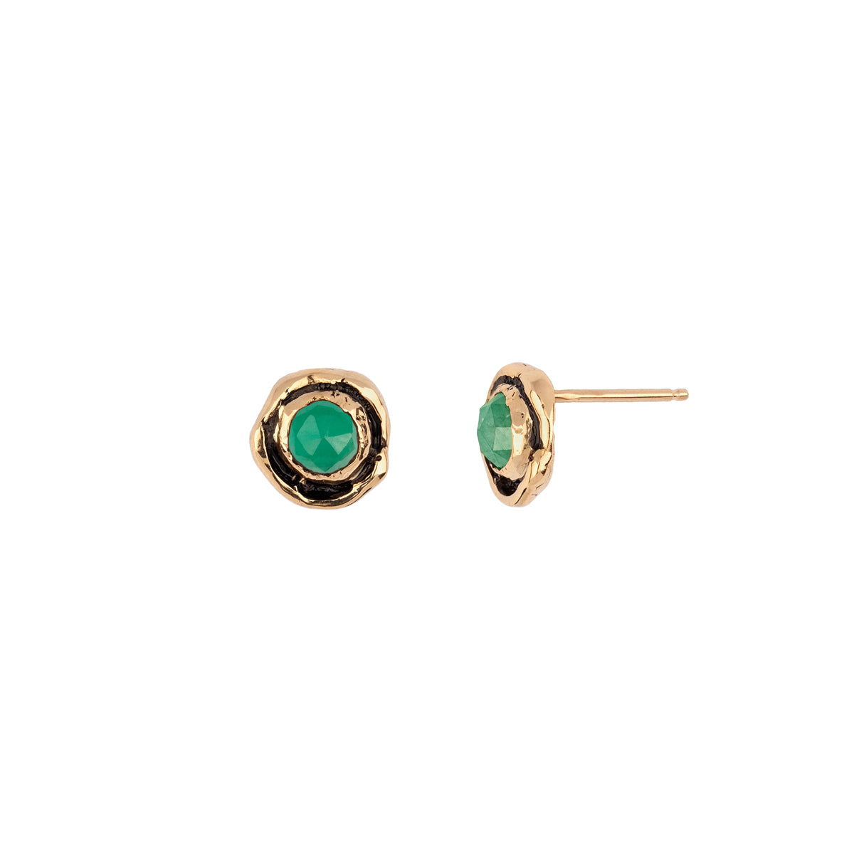 Small Emerald Faceted Stone 14K Gold Stud
