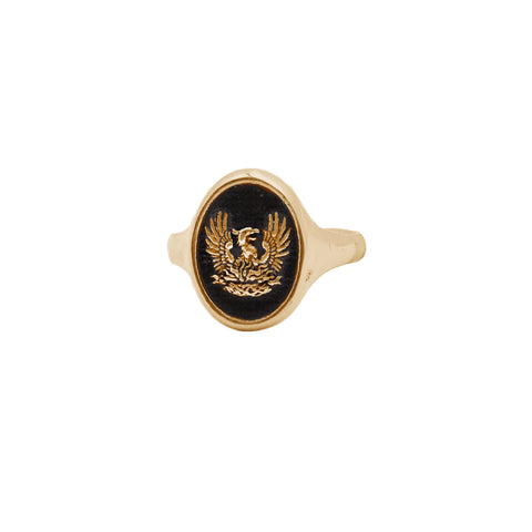 Fire Within 14K Gold Oval Signet Ring