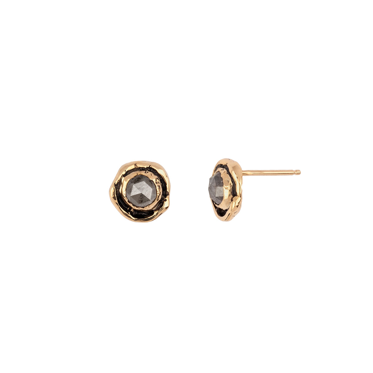 Small Grey Rustic Diamond Faceted Stone 14K Gold Stud