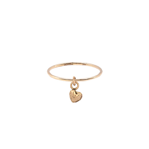 Heart Hanging 14K Gold Symbol Charm Ring