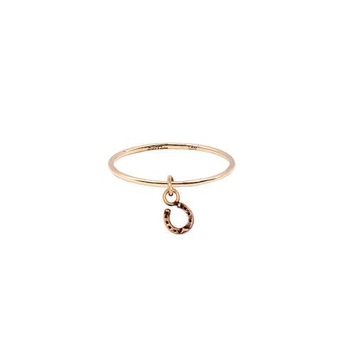 Horseshoe Hanging 14K Gold Symbol Charm Ring