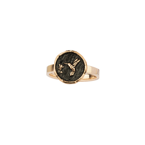 Hummingbird 14K Gold Statement Ring