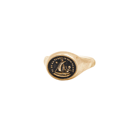 Light My Way 14K Gold Oval Signet Ring
