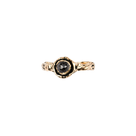 Narrow Charcoal Rustic Diamond 14K Gold Faceted Stone Ring