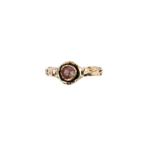 Narrow Cognac Rustic Diamond 14K Gold Faceted Stone Ring