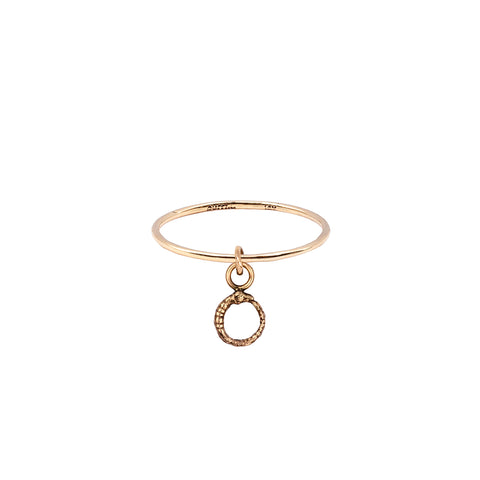 Ouroboros Hanging 14K Gold Symbol Charm Ring