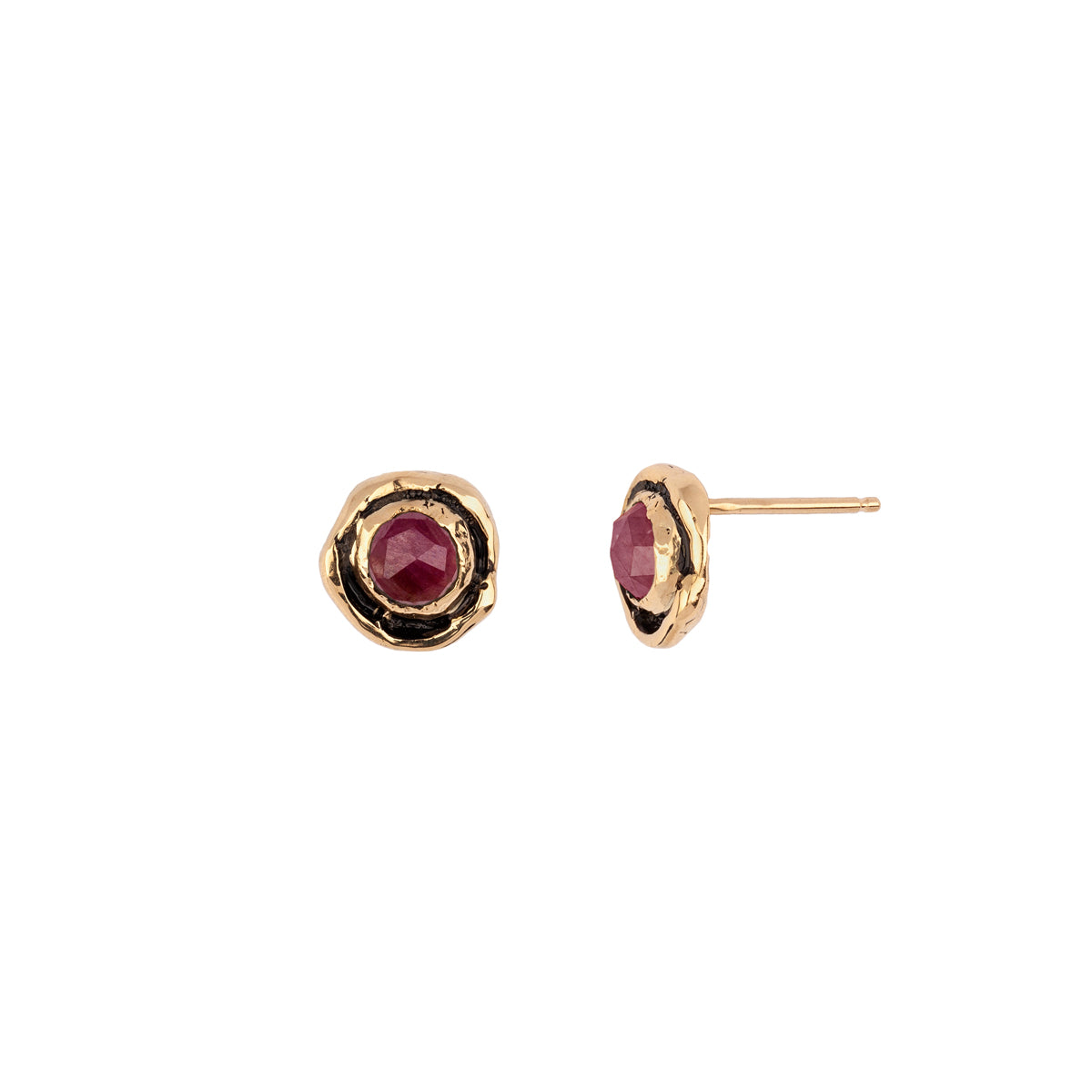 Small Ruby Faceted Stone 14K Gold Stud