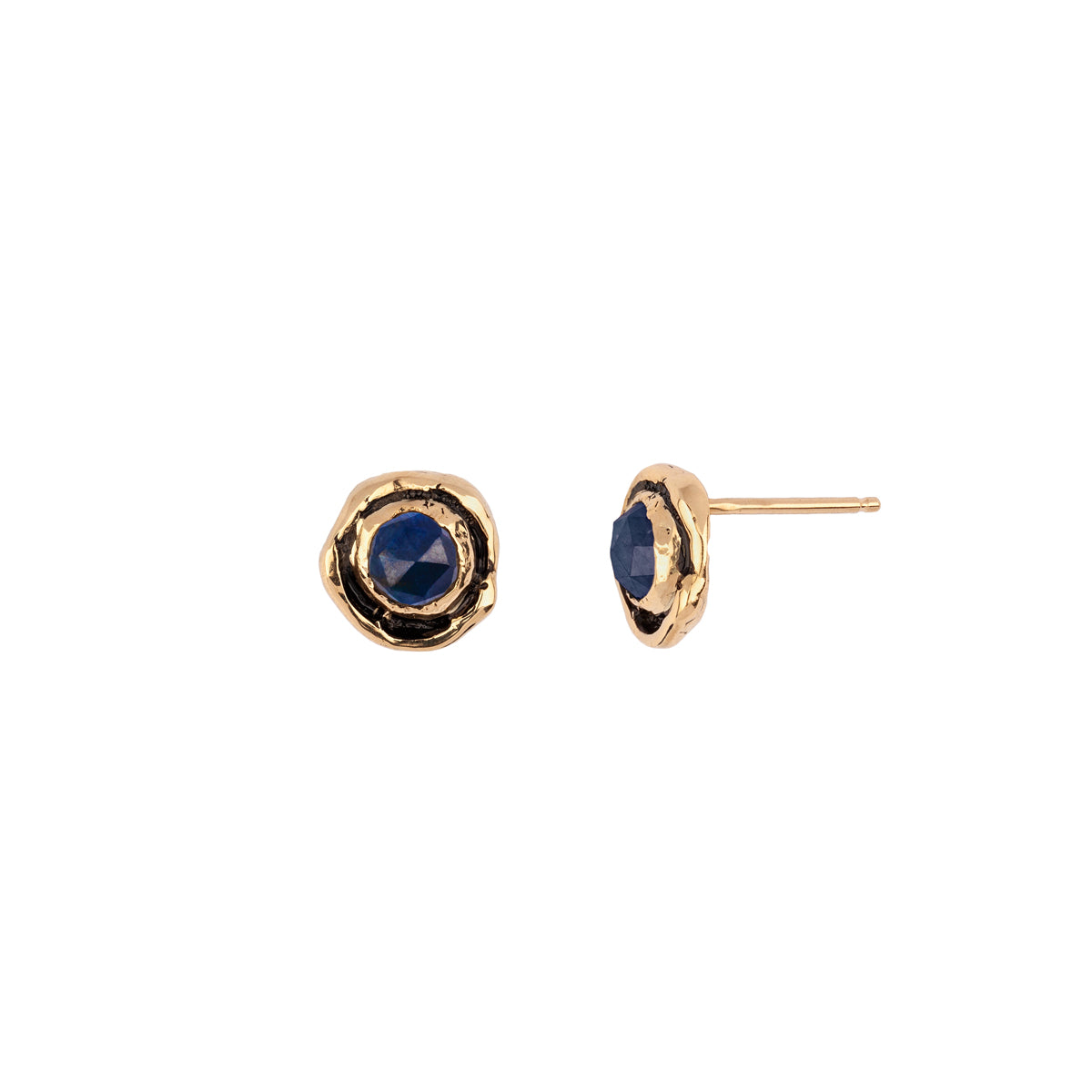 Small Sapphire Faceted Stone 14K Gold Stud