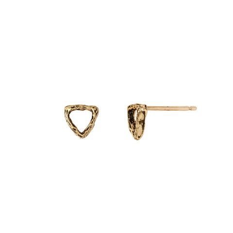 Tiny Open Shield 14K Gold Studs