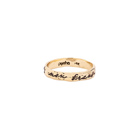 To Be Bent Not Broken 14K Gold Poesy Ring
