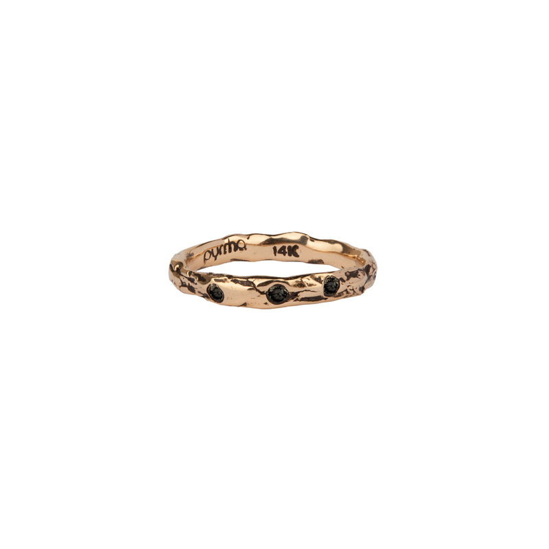 Triple Stone Set 14K Gold Narrow Textured Band Ring