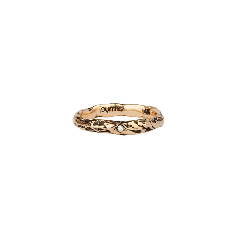 Stone Set 14K Gold Narrow Textured Band Ring