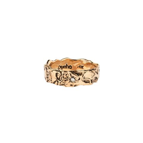 Stone Set 14K Gold Wide Textured Band Ring