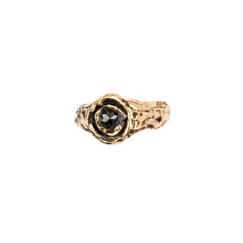 Wide Charcoal Rustic Diamond 14K Gold Faceted Stone Ring