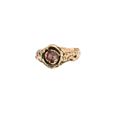 Wide Cognac Rustic Diamond 14K Gold Faceted Stone Ring