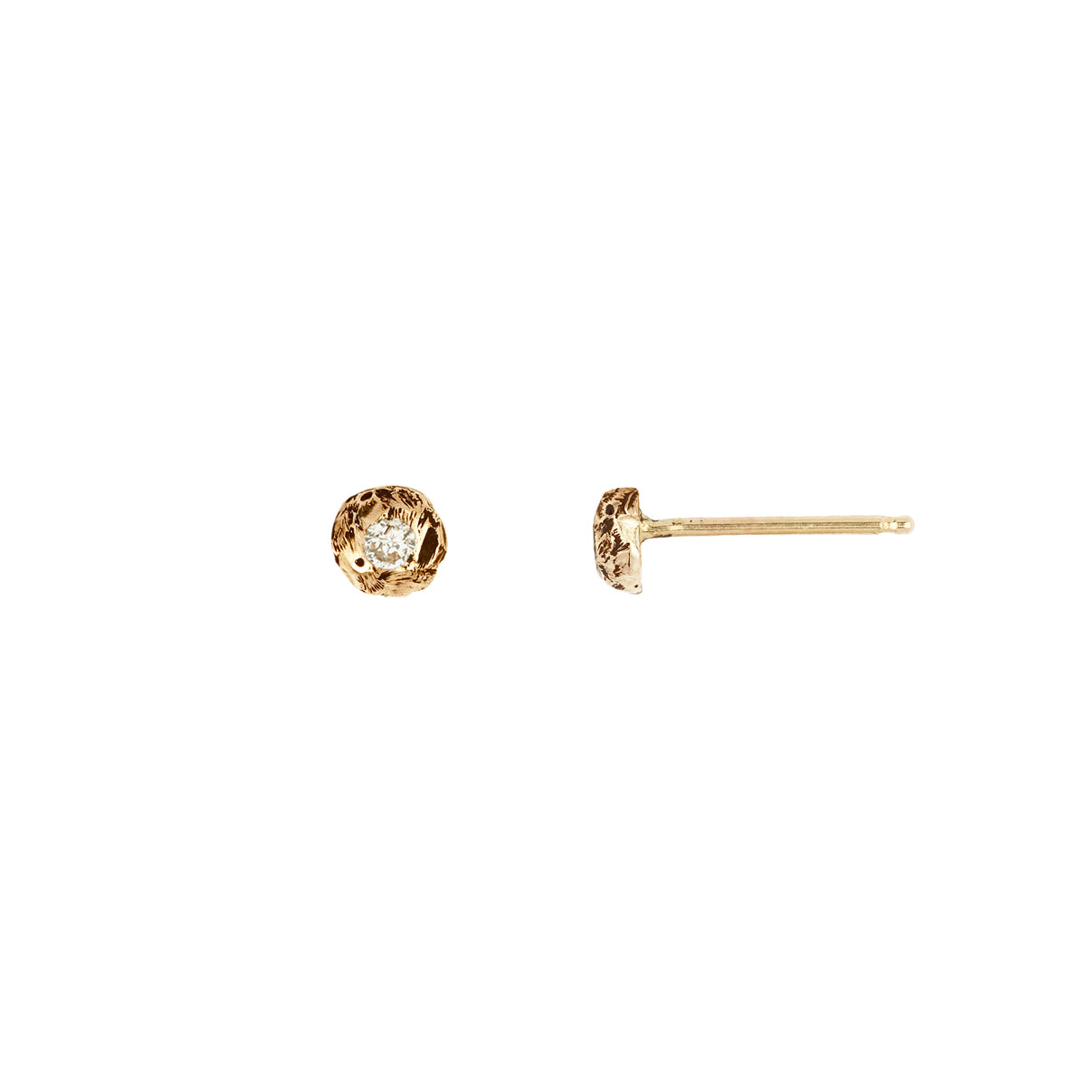 Stone Set 14K Gold Studs Extra Large Nugget