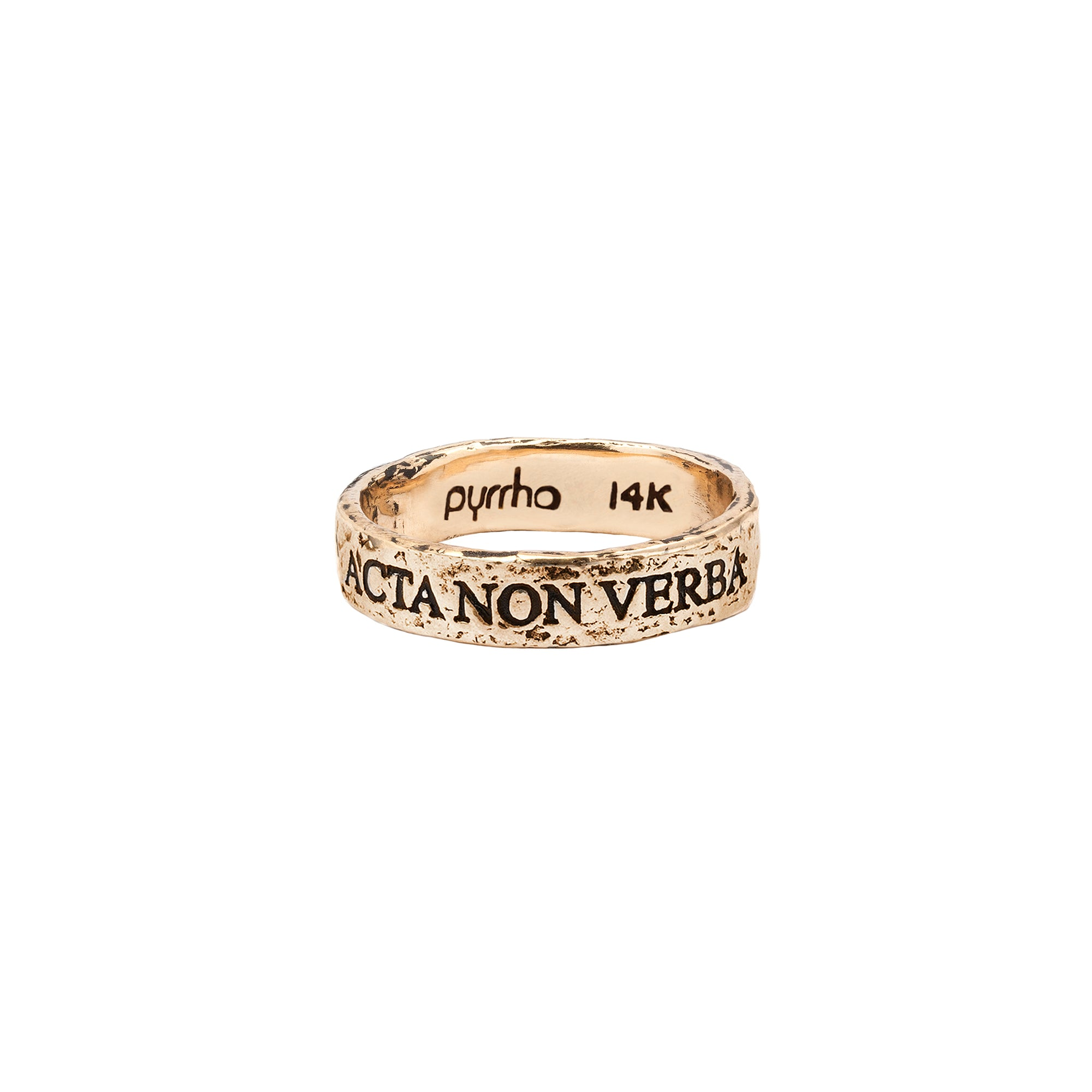 Pyrrha 14k acta non verba latin motto band ring