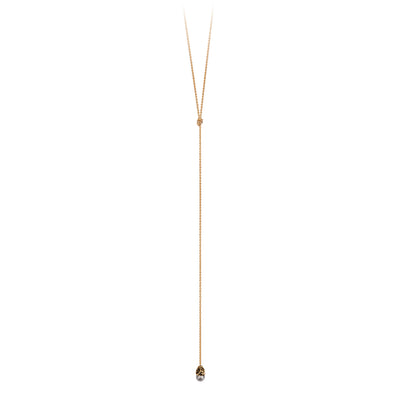 Pyrrha Ashen Rustic Diamond 14K Gold Lariat Necklace