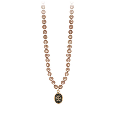 Pyrrha 14K Gold Beauty and Strength Champagne Freshwater Pearl Talisman Necklace