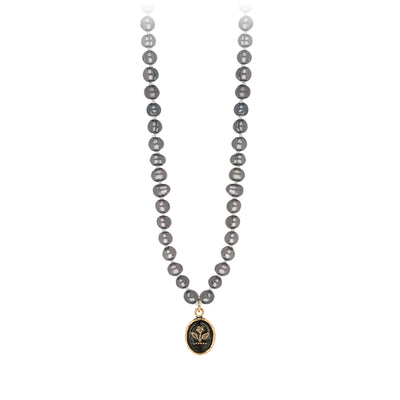 Pyrrha 14K Gold Beauty and Strength Dove Grey Freshwater Pearl Talisman Necklace