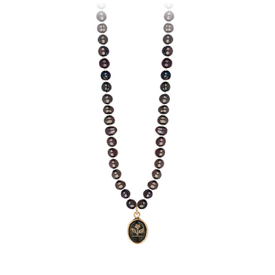 Pyrrha 14K Gold Beauty and Strength Peacock Black Freshwater Pearl Talisman Necklace