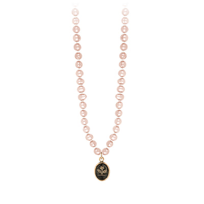 Pyrrha 14K Gold Beauty and Strength Rose Freshwater Pearl Talisman Necklace