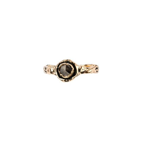 Narrow Brown Rustic Diamond 14K Gold Faceted Stone Ring