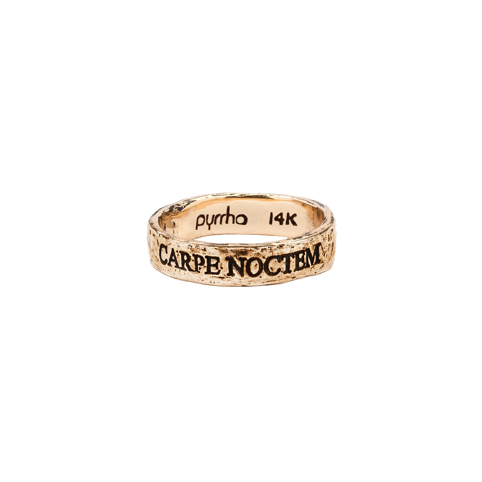 Pyrrha 14k carpe noctem latin motto band ring