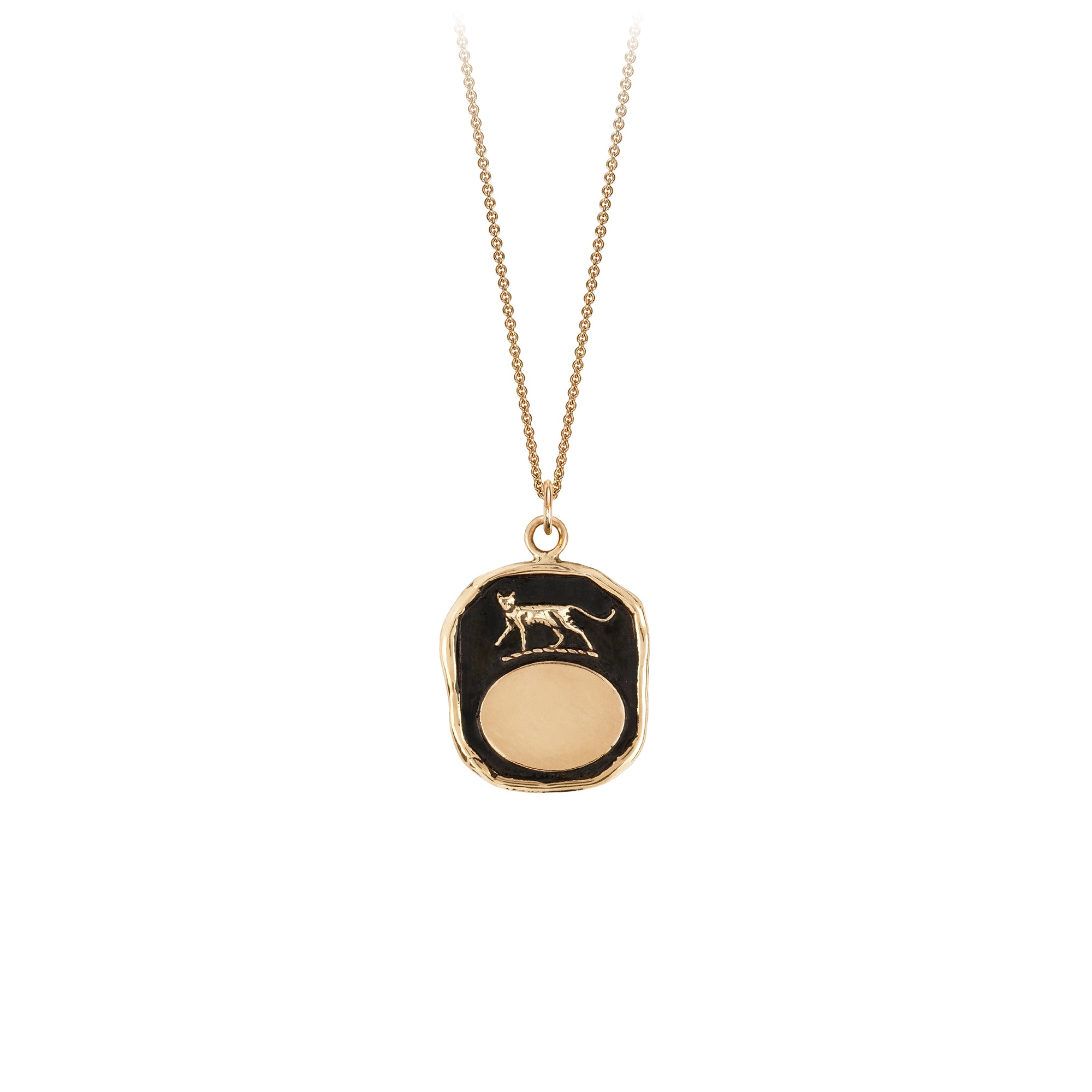 Cat 14K Gold Engravable Talisman
