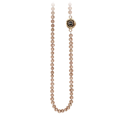 Pyrrha Charcoal Diamond Faceted Stone Champagne Pearl Necklace