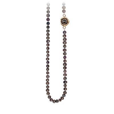 Pyrrha Charcoal Diamond Faceted Stone Peacock Black Pearl Necklace