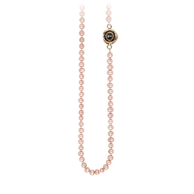 Pyrrha Charcoal Diamond Faceted Stone Rose Pearl Necklace