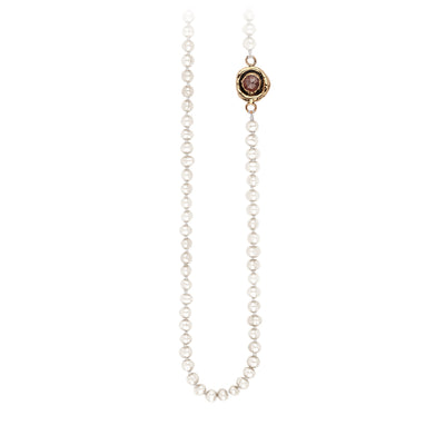 Pyrrha Cognac Diamond Faceted Stone Ivory Pearl Necklace