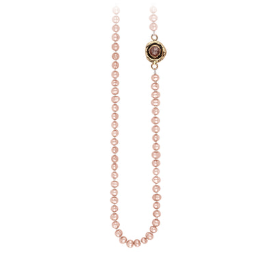 Pyrrha Cognac Diamond Faceted Stone Rose Pearl Necklace