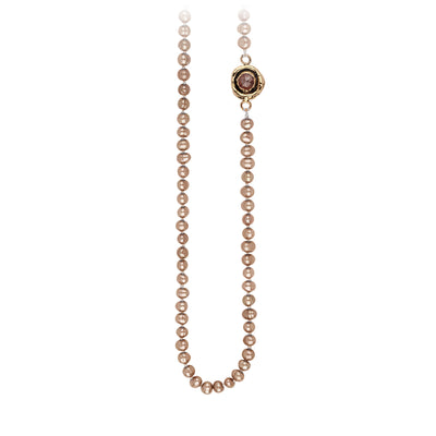 Pyrrha Cognac Diamond Faceted Stone Ivory Champagne Necklace