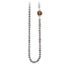 Pyrrha Cognac Diamond Faceted Stone Dove Grey Pearl Necklace