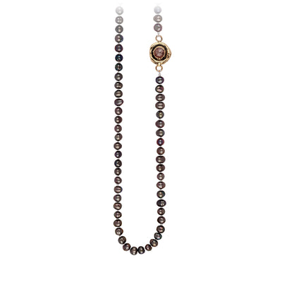 Pyrrha Cognac Diamond Faceted Stone Peacock Black Pearl Necklace