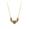 Cognac Rustic Diamond 14K Gold Heart With Wings Faceted Stone Necklace