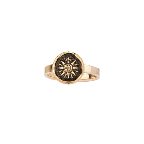 Direction 14K Gold Flat Band Talisman Ring