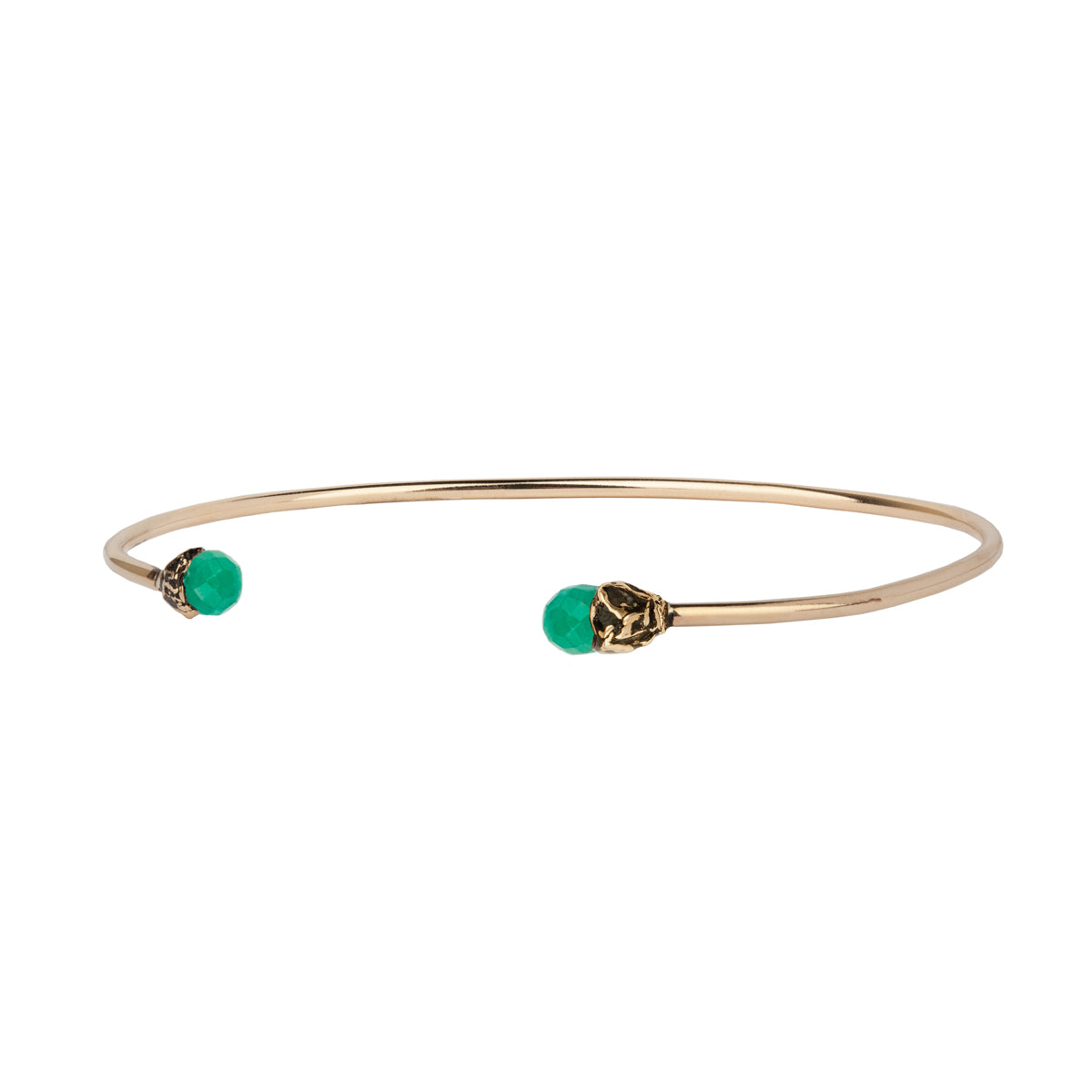 Emerald 14K Gold Capped Open Bangle
