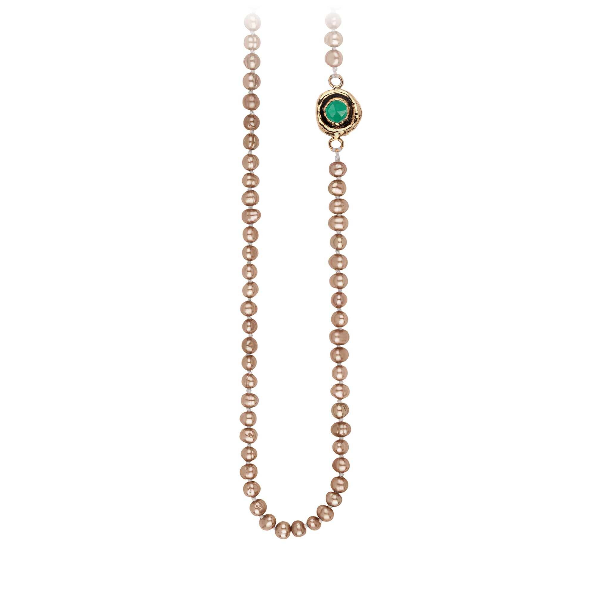 Pyrrha Emerald Faceted Stone Champagne Pearl Necklace
